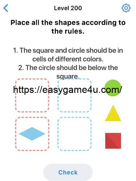 Level 200 - Place all the shapes according to the rules