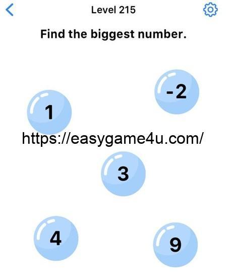 Level 215 - Find the biggest number
