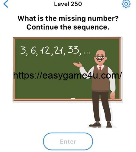Level 250 - What is the missing number? Continue the sequence