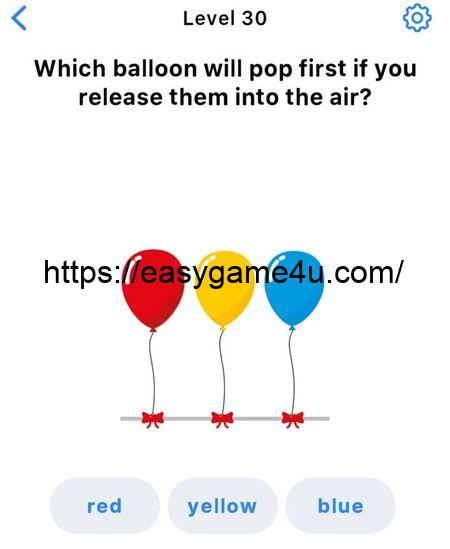 Level 30 - Which balloon will pop first if you release them into the air?