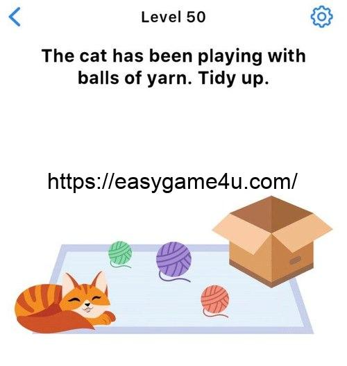 Level 50 - The cat has been playing with balls of yarn. Tidy up.