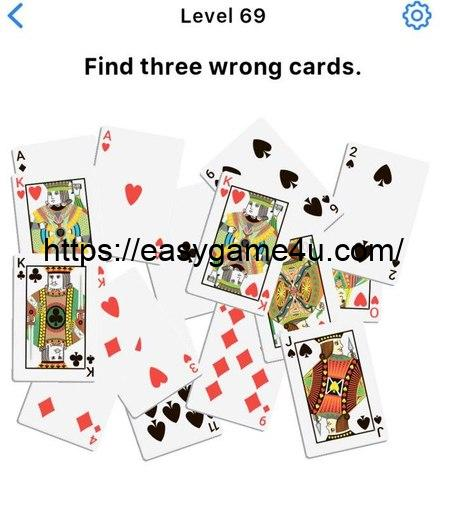 Level 69 - Find three wrong cards